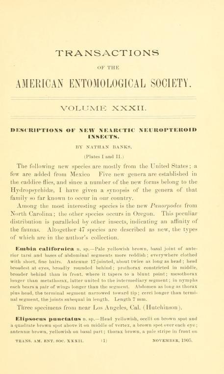 Banks (1905) Trans. Am. Ent. Soc. 32: 1-20